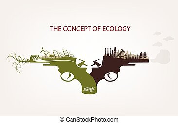 Conceptual illustration of pollution and clean environment