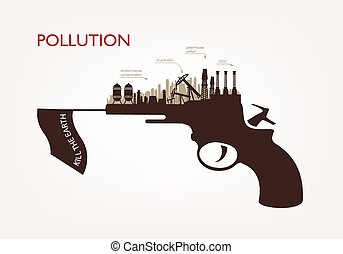 gun with plants pollution the concept of ecology - gun with...