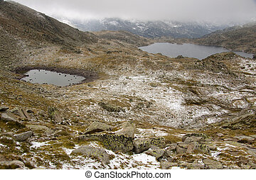 Snowy day - Pyrenees - Snowy autumn day in Pyrenees mountain...