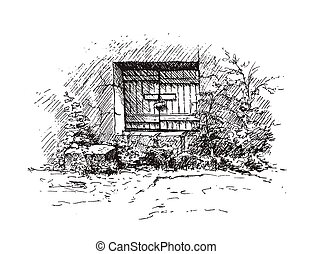 Drawing of old cellar. Black and white vector illustration.