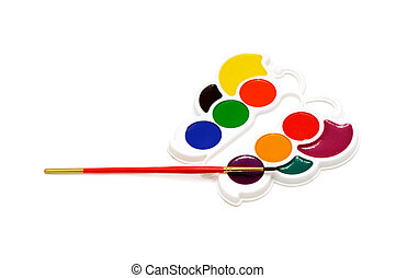 colour-box and brush isolated on a white background...
