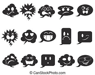 black speech bubble smileys icons