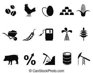 commodities trading market icons set - isolated commodities...