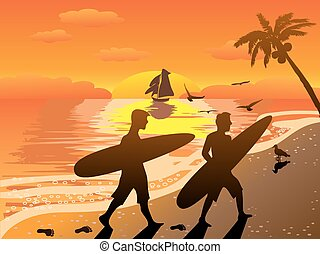 sunset beach surfers illustraion - the summer background of...