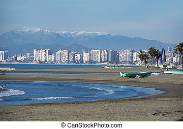 Costa del sol in winter - Malaga from el Palo in Winter