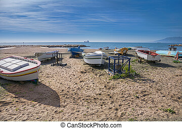 Small fishing boats on Costa del Sol Spain
