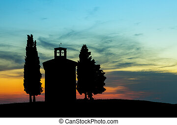 Backlit chapel in Tuscany