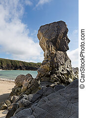 High rocks on Isle of Lewis - Mangersta Beach on a spring...