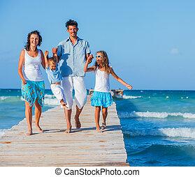 木制, 步行, 防波堤, 家庭
