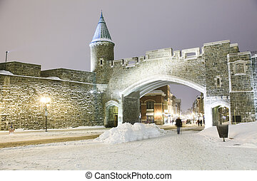 Quebec city landmark. Old fortress in winter. Night scene...