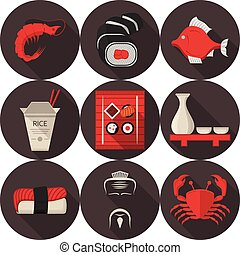 Flat vector icons for japanese restaurant - Set of flat...