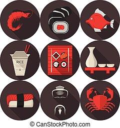 vector, plano, iconos, japonés, restaurante