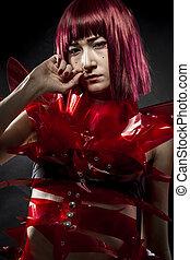 robot, con, rojo, armadura, hermoso, joven, japonés,...