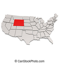 Wyoming map image with hi-res rendered artwork that could be...