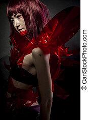 robot, con, rojo, armadura, hermoso, joven, japonés, mujer,...