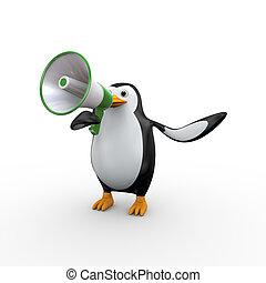 3d penguin megaphone announcement