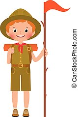 Vector child boy scout - Vector illustration of child in...