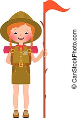 Smiling child girl scout