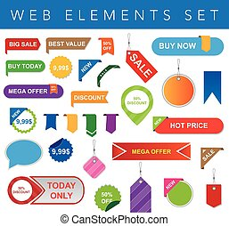 Web Elements Set - This is a vector set of labels and...