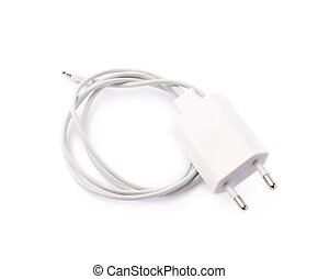 White usb adapter charger isolated over the white background