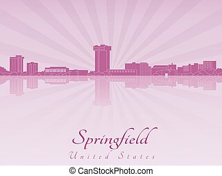 Springfield Mo skyline in purple radiant orchid -...