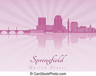 Springfield MA skyline in purple radiant orchid -...