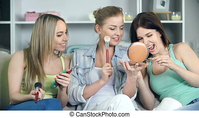Hen Party - Close up of three ladies having fun with...