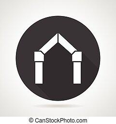 Arch gateway black round vector icon - Flat black round...