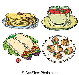 Popular world famous food international restaurant or cafe cuisine dishes cooked