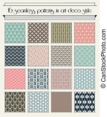 Art deco semaless pattern set - Vector set of seamless...