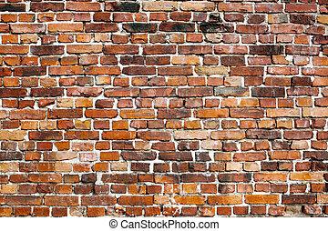 老, 磚, 牆, 背景,
