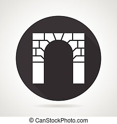 Brick archway black round vector icon - Flat black round...