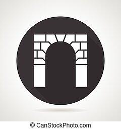 Brick archway black round vector icon - Flat black round...