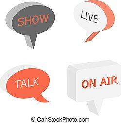 On Air sign, talk show symbol, live cast 3d vector bubbles....