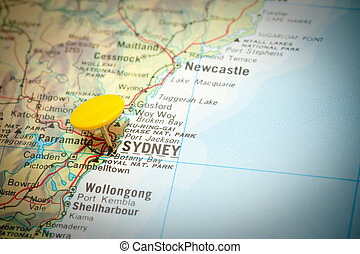 sydney - map marked with the location of sydney in australia