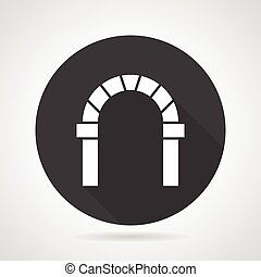 Curved archway black round vector icon - Flat black round...