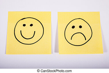 Happy and Sad Faces on Memo Paper - Happy and Sad Faces on...