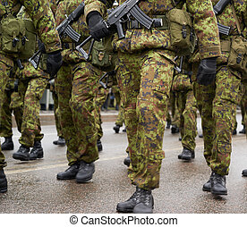 Lined up squad of Estonian soldiers in a military uniform...