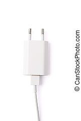 Fragment of the white adapter charger isolated - Fragment of...