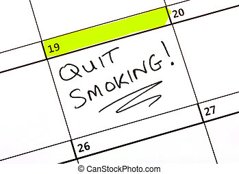 Quit Smoking! - A date highlighted on a Calendar to quit...