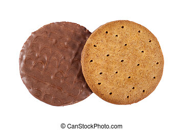 Chocolate Digestive Biscuit - The top and bottom of a...