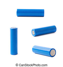 Blue rechargeable battery isolated - Blue rechargeable 18650...