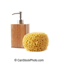 Soap dispenser and yellow sponge