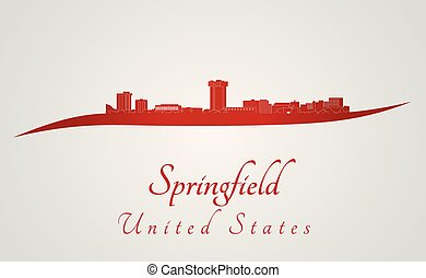 Springfield MO skyline in red - Springfield skyline in red...