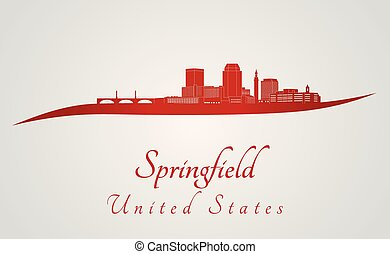 Springfield MA skyline in red - Springfield skyline in red...