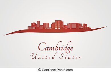 Cambridge MA skyline in red - Cambridge skyline in red and...