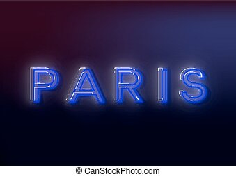 Neon Paris Neon Paris sign, design for your business Bright...