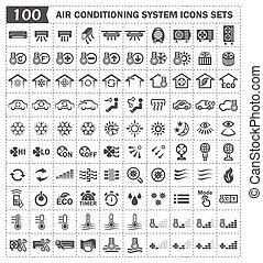 Icons - 100 air conditioning icons sets