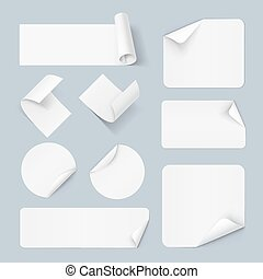Paper sticker - Set of white paper sticker form isolated on...