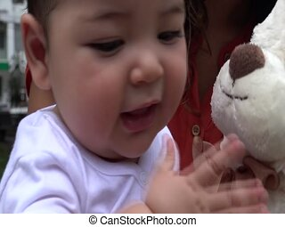 Baby With Teddy Bear, Infant, Plush Toys